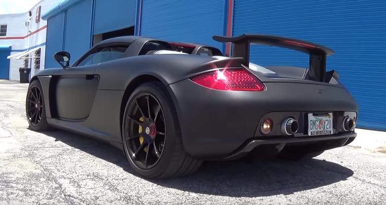 Porsche Carrera GT LOUD Revs Acceleration Matte Black! (Video ...