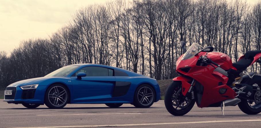 Drag Race Audi R8 Vs Ducati Panigale V4 Car Vs Bike Video